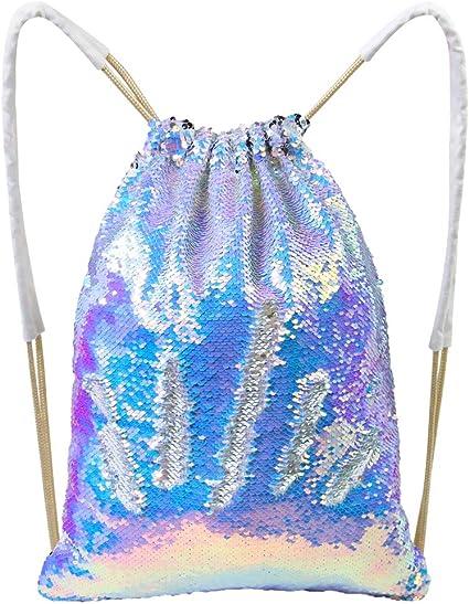 Play Tailor Mermaid reversible lentejuelas Drawstring mochila brillante bolsa de hombro al aire libre