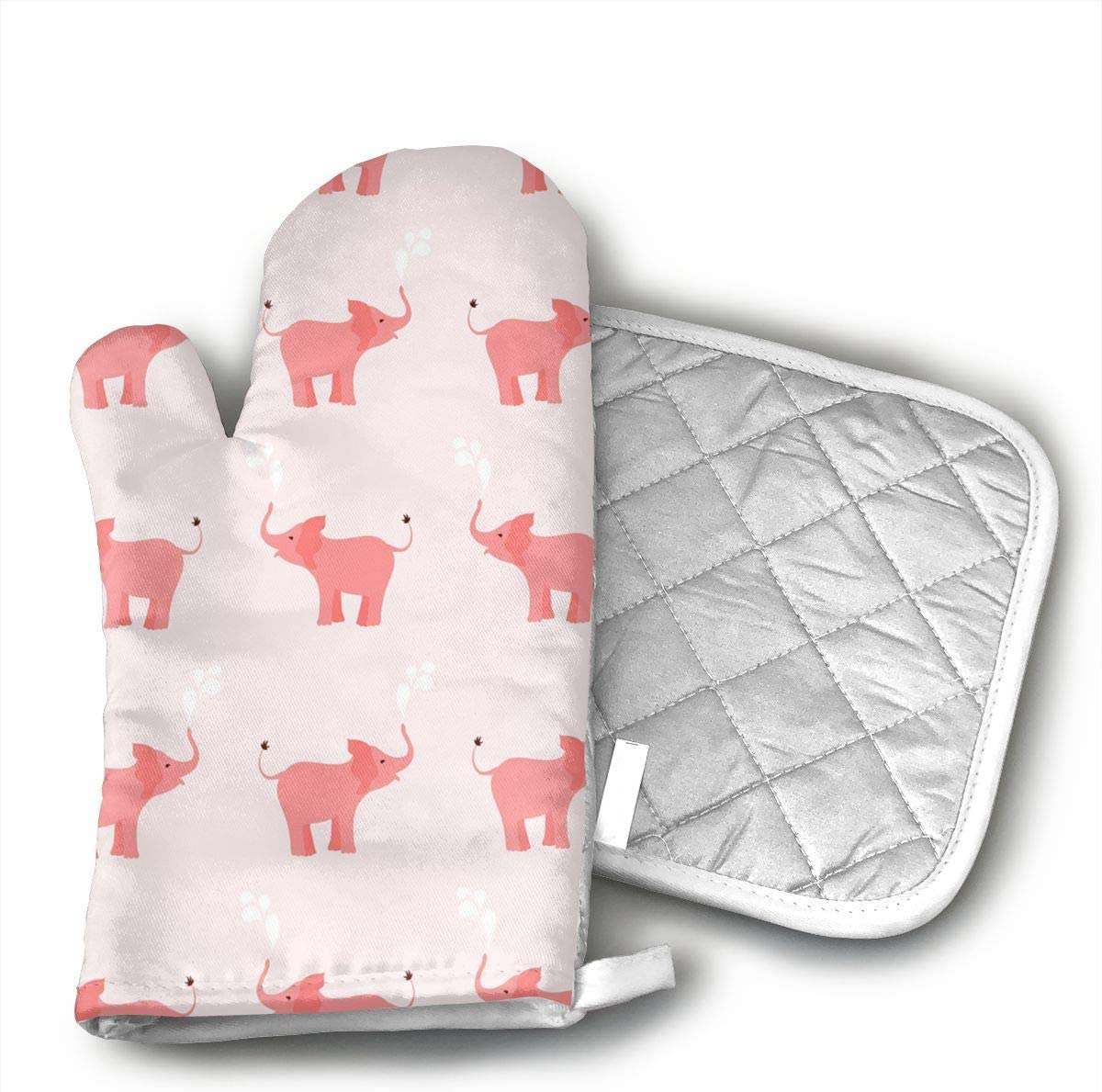 Elephant Seamless Oven Mitts and Pot Holders Set with Polyester Cotton Non-Slip Grip, Heat Resistant, Oven Gloves for BBQ Cooking Baking, Grilling