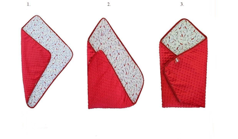 RED Baby Shower Gift - Nursery 3 in 1 Baby Swaddle Wrap Blanket / Sleeping Bag / Snuggle wrap / Horn