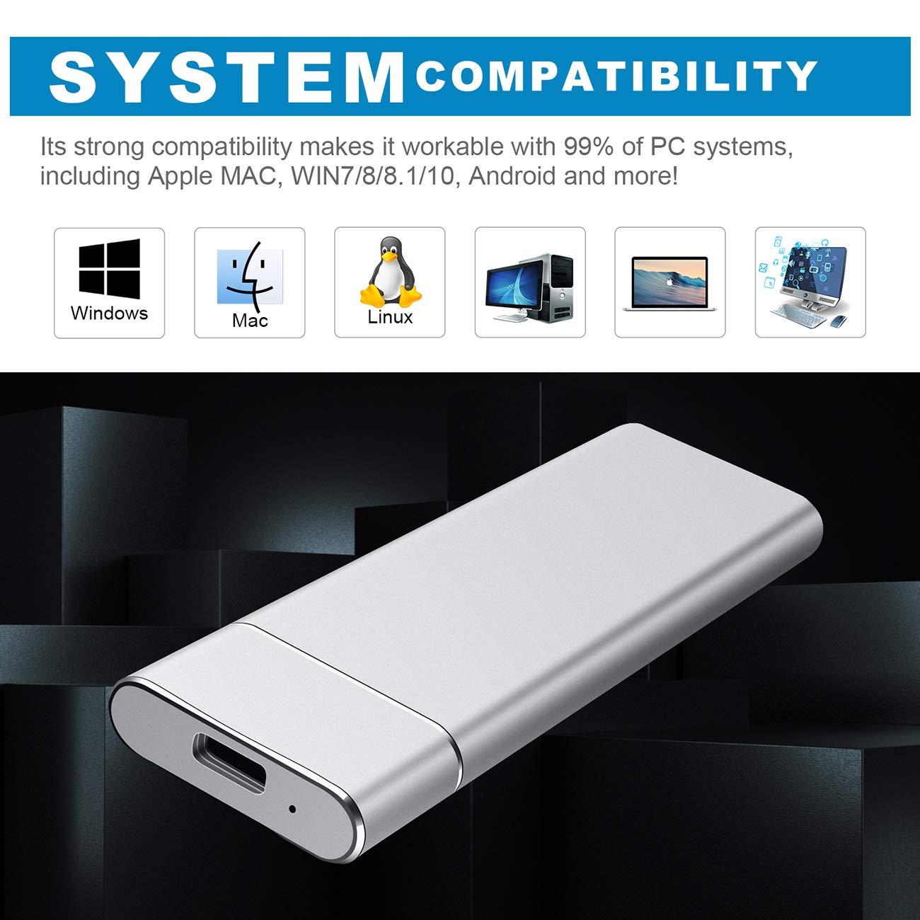 Desktop Xbox One Laptop Disco Duro Externo USB3.1 Type C para PC PS4 2TB,Negro Mac MacBook Chromebook. Disco Duro Externo 2 TB