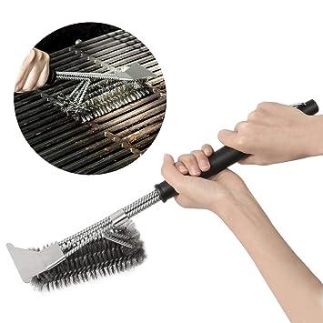 Amile triángulo, cepillo para barbacoa Grill barbacoa cepillo con raspador, mango de 17 pulgadas para más fácil y eficaz limpieza: Amazon.es: Jardín