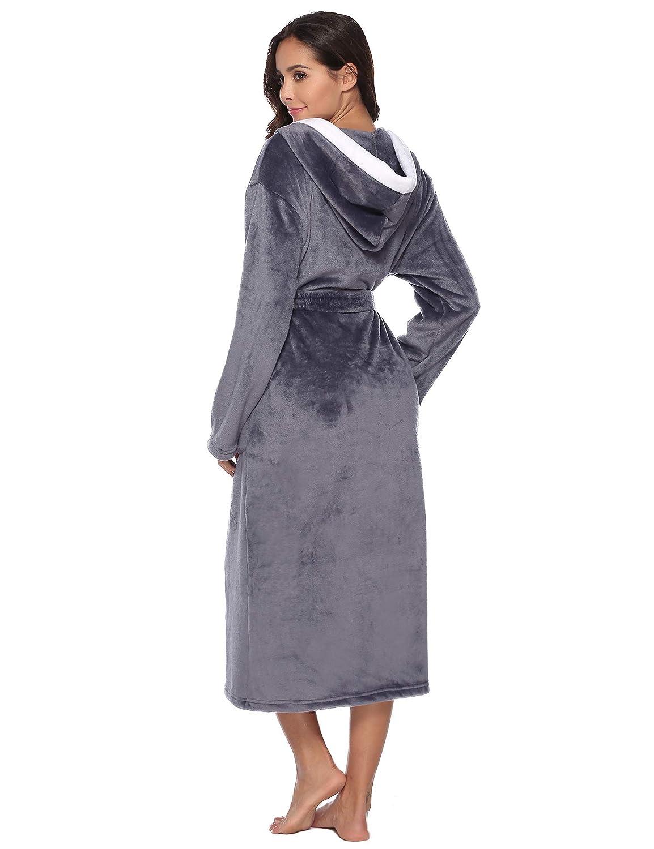 Aibrou Femme Peignoir Polaire /à Capuche avec 2 Poches Hiver Peignoir de Bain Flanelle Robe de Nuit Flanelle
