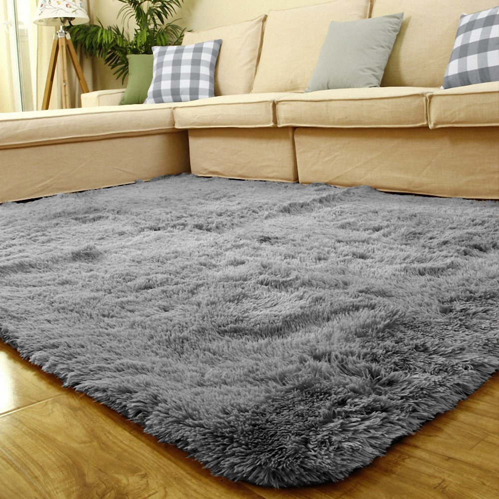 Sytian Large Size 4 Feet X 5 Feet 4.5cm Thick Decorative Modern Shaggy Area Rug Super Soft Silky Bedroom Living Room Sitting-room Carpet Non Slip Absorbent Bath Mat Kids Playing Mat (Grey)