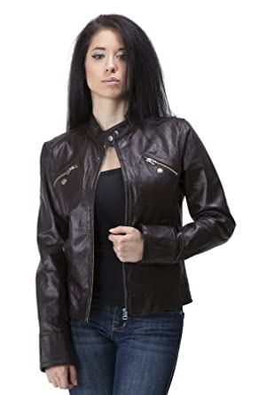 United Face Womens Lambskin Leather Moto Jacket X-Small Brown at ...