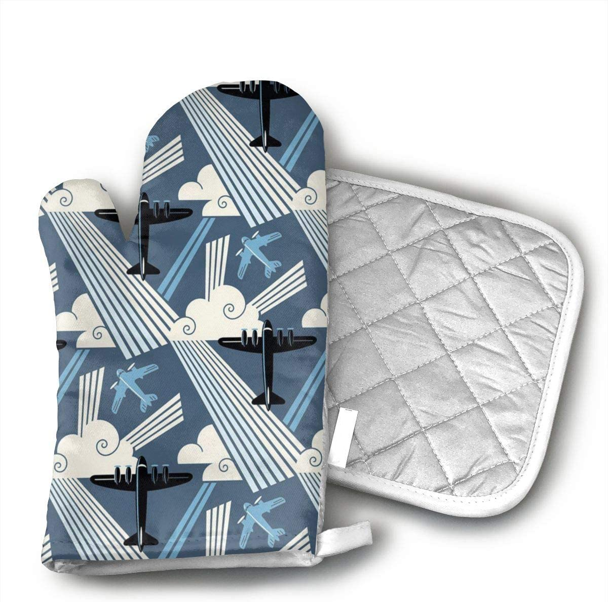 Wiqo9 Art Deco Modern Aviation Oven Mitts and Pot Holders Kitchen Mitten Cooking Gloves,Cooking, Baking, BBQ.