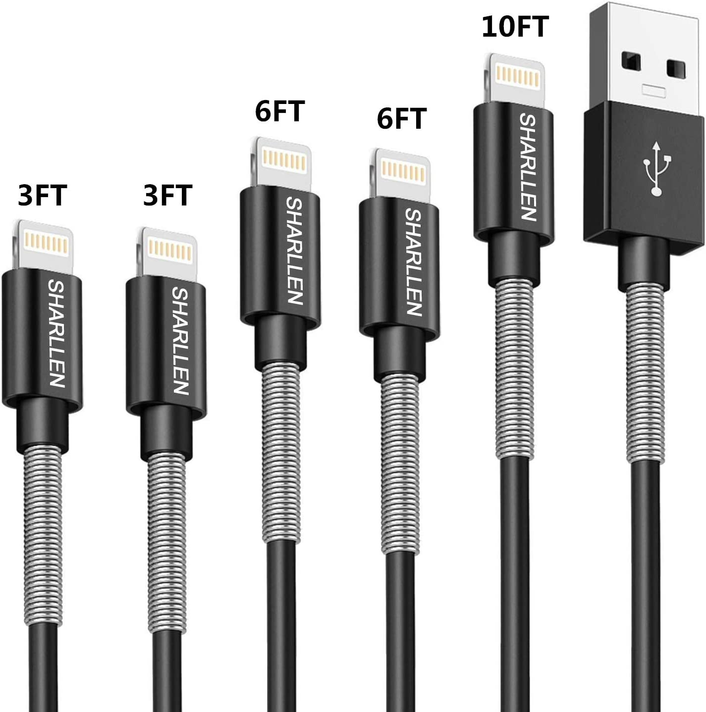 iPhone Charger Cable sharllen Spring Lightning Cable Mfi Certified 5Pack(3ft/3ft/6ft/6ft/10ft) Fast Long iPhone Charging Cord Compatible iPhone XS/Max/XR/X/8/8Plus/7/7P/6S/iPad/iPod/IOS Black