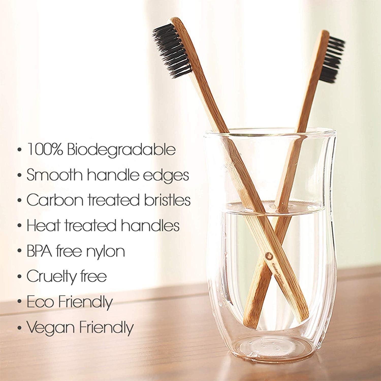 Natural Charcoal Bamboo Toothbrushes BPA Free Soft Bristles ...