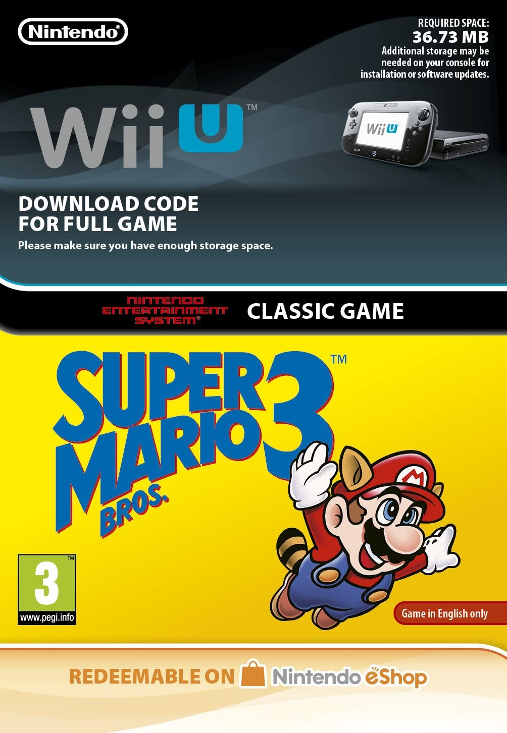 Super Mario Bros 3 NES [Wii U Download Code]: Amazon co uk