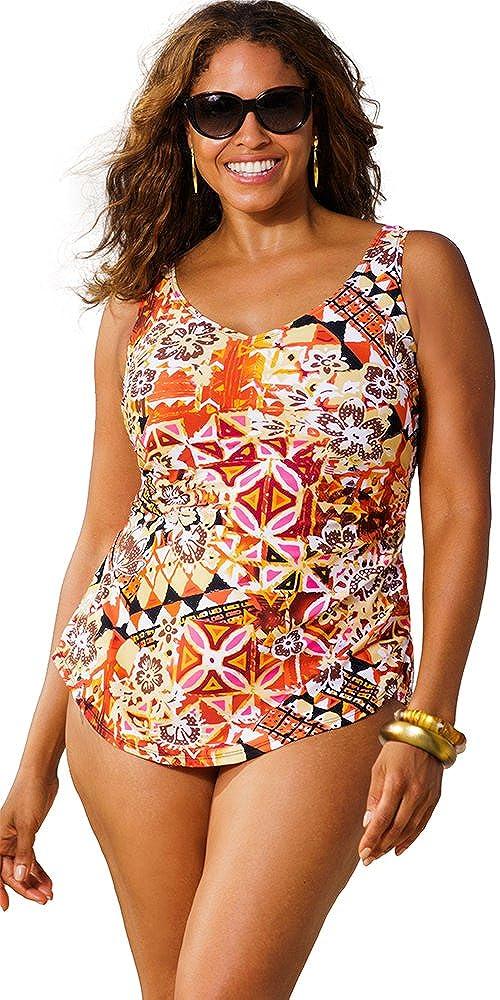f00bb8ebf4435 Beach Belle Gold Coast Plus Size Sarong Front Swimsuit Women S Swimsuit -  Pink - Size 24  Amazon.co.uk  Clothing