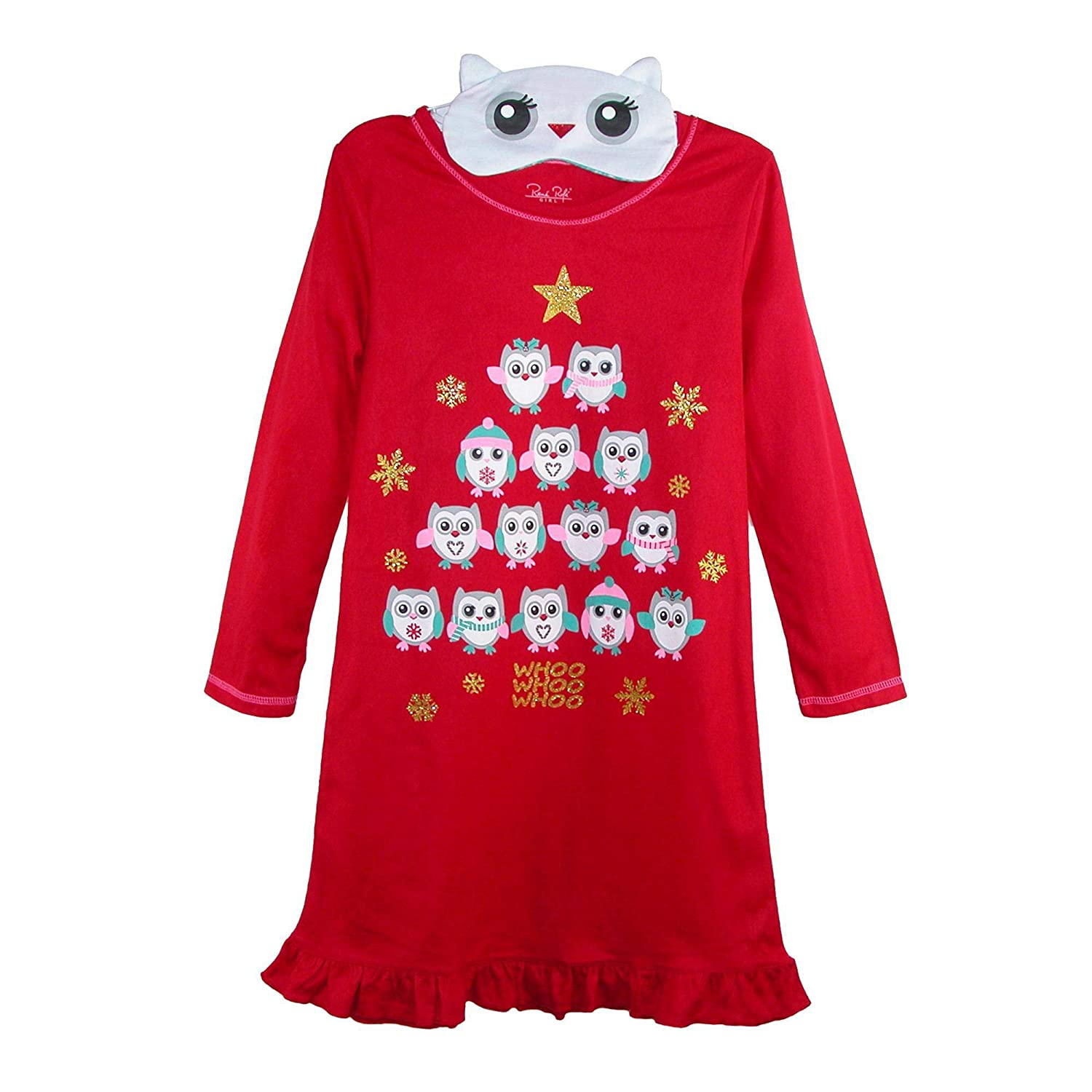 Rene Rofe Girl's Holiday Owl Nightgown Ruffle Trim