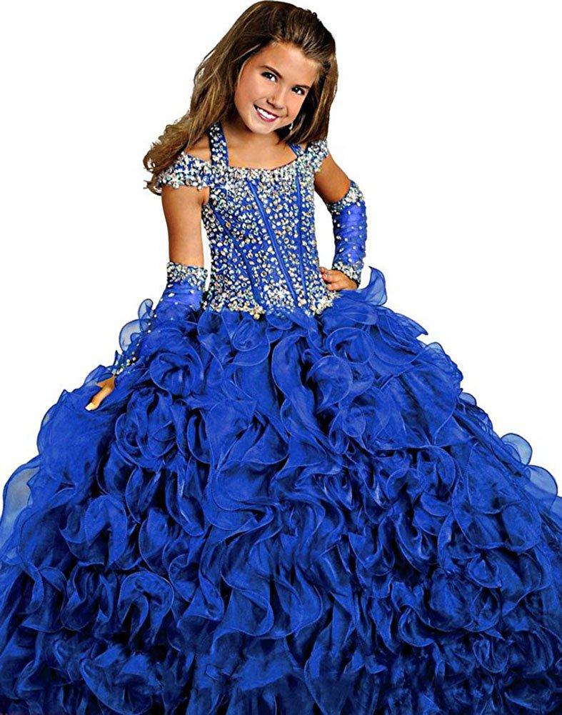 MemoryTU Flower Girls' Birthday Party Prom Ball Gown Floor Length Wedding Pageant Dresses 10 US Dark Blue