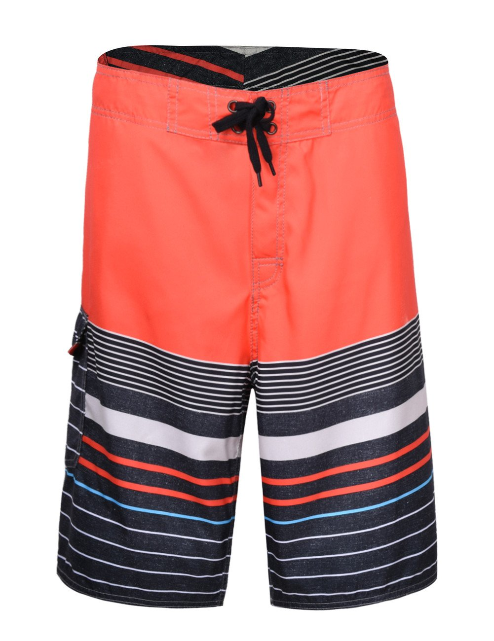 NONWE Men's Quick Dry Swim Trunks Colorful Stripe Beach Short with Mesh Lining 12780-40 by Nonwe
