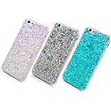 3 Unidades Funda Silicona iPhone 6/6s, Cascara Ultrafina Suave Cover Protectora Brillante , Anti-Rasguño y Resistente Huellas (Plata + Azul + Violeta)