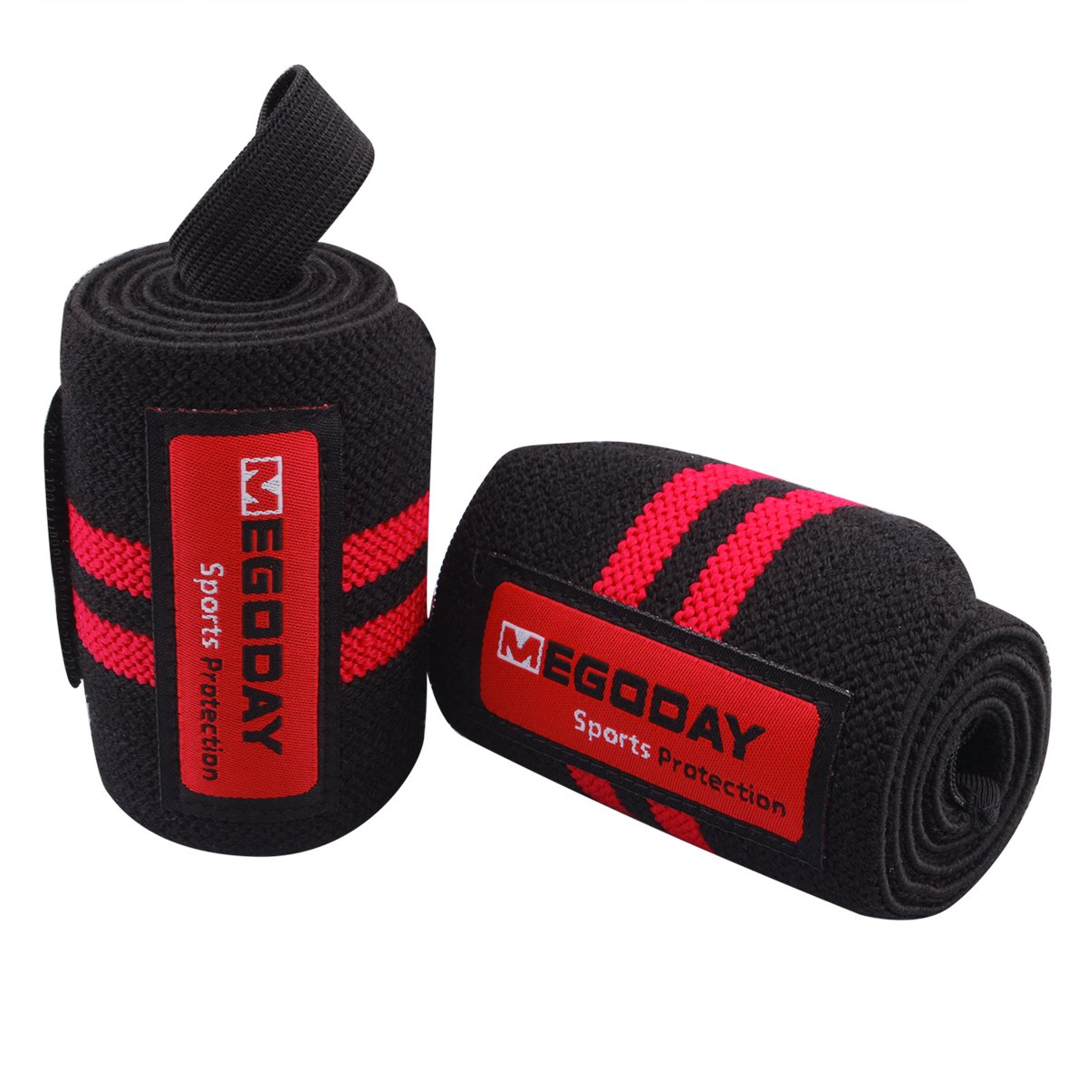 Wrist Straps Wraps Guard (24'', Adjustable,1 Pair,Unisex) Wrist Supports Stabilizer with Thumb Loops,Heavy Duty Compression Wristbands for Strength Muscle Training,Powerlifting,Bodybuilding,Gym