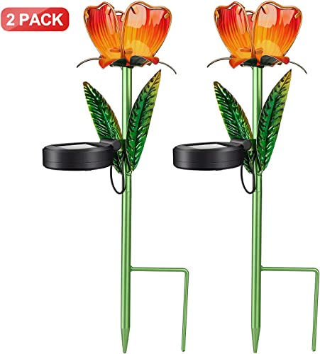 SYLOTS Outdoor Solar Stake Flower Lights, 2 Pack Colorful Solar Powered Landscape Waterproof Decorative Lights for Indoor Outdoor Garden, Lawn,Patio, Pond,Backyard