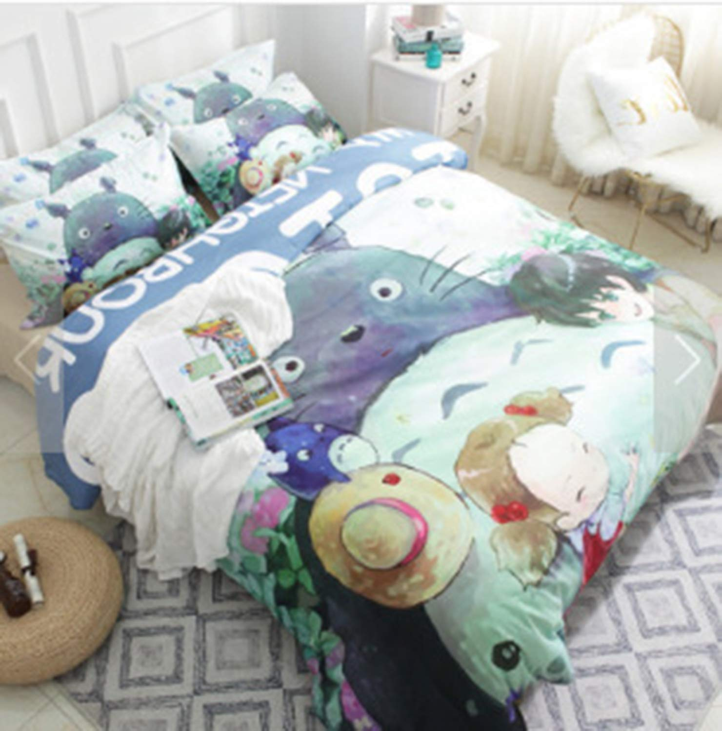 Yicool My Neighbor Totoro Bedding Cover Set Queen Size 3 Piece Cute Cartoon Polyester Blend Quilt Cover and Pillowcases (Comforter and Sheet not Included)