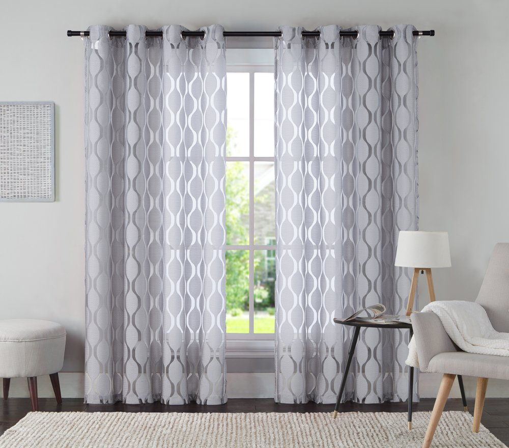 VCNY Home Aria Window Curtain, 54x95, Grey 54x95 AIA-PNL-5495-BB-IV