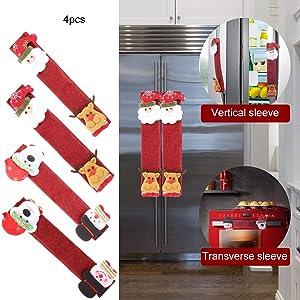 BUSOH Refrigerator Door Handle Covers Set, Santa Snowman Kitchen Appliance Covers Fridge Microwave Oven Dishwasher Door Handle Protector Christmas Decorations