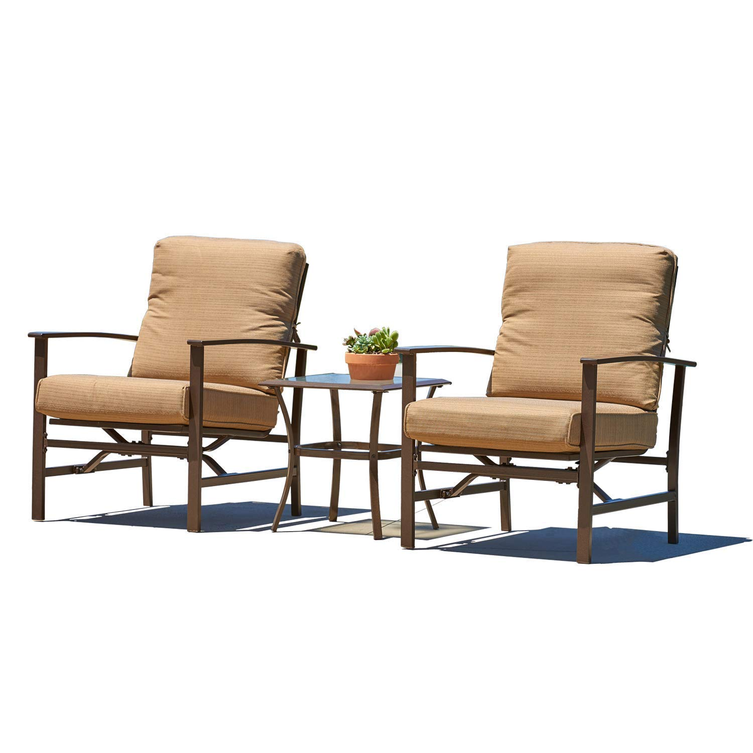 Oakmont 3 Piece Bistro Set Outdoor Furniture Chairs, Glass Top Table with Thick Cushions fit Porch, Garden, Backyard or Pool