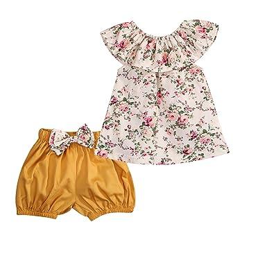 5b2e81232e0922 Amazon.com: GSHOOTS Baby Girls' 2Pcs Clothes Set Floral Ruffle Top +  Bowknot Shorts: Clothing