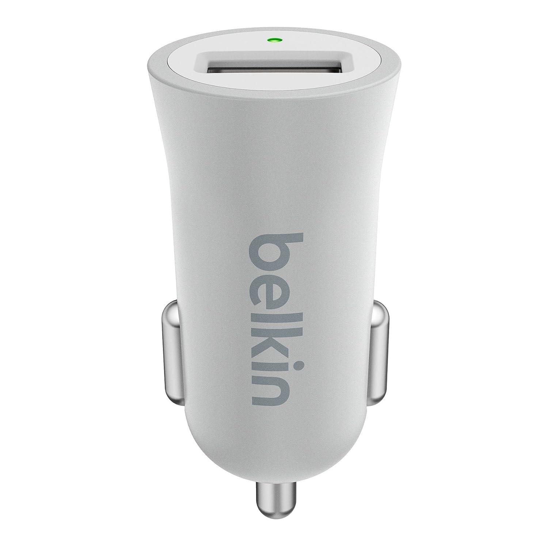 Belkin F8M730btSLV - Cargador Premium para el coche USB (12 W, 2.4 A, carga inteligente, compatible con iPhone 8/8+/X) plateado metálico