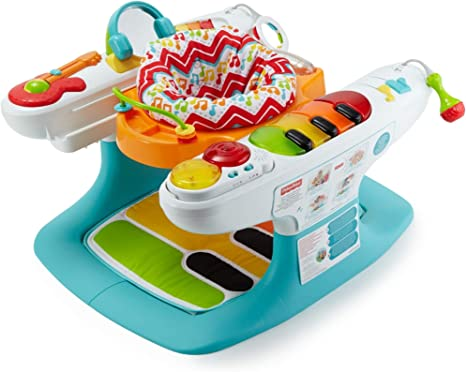 Fisher-Price - Superpiano pasitos musicales 4 en 1, juguete musical para bebé (Mattel DMR09)