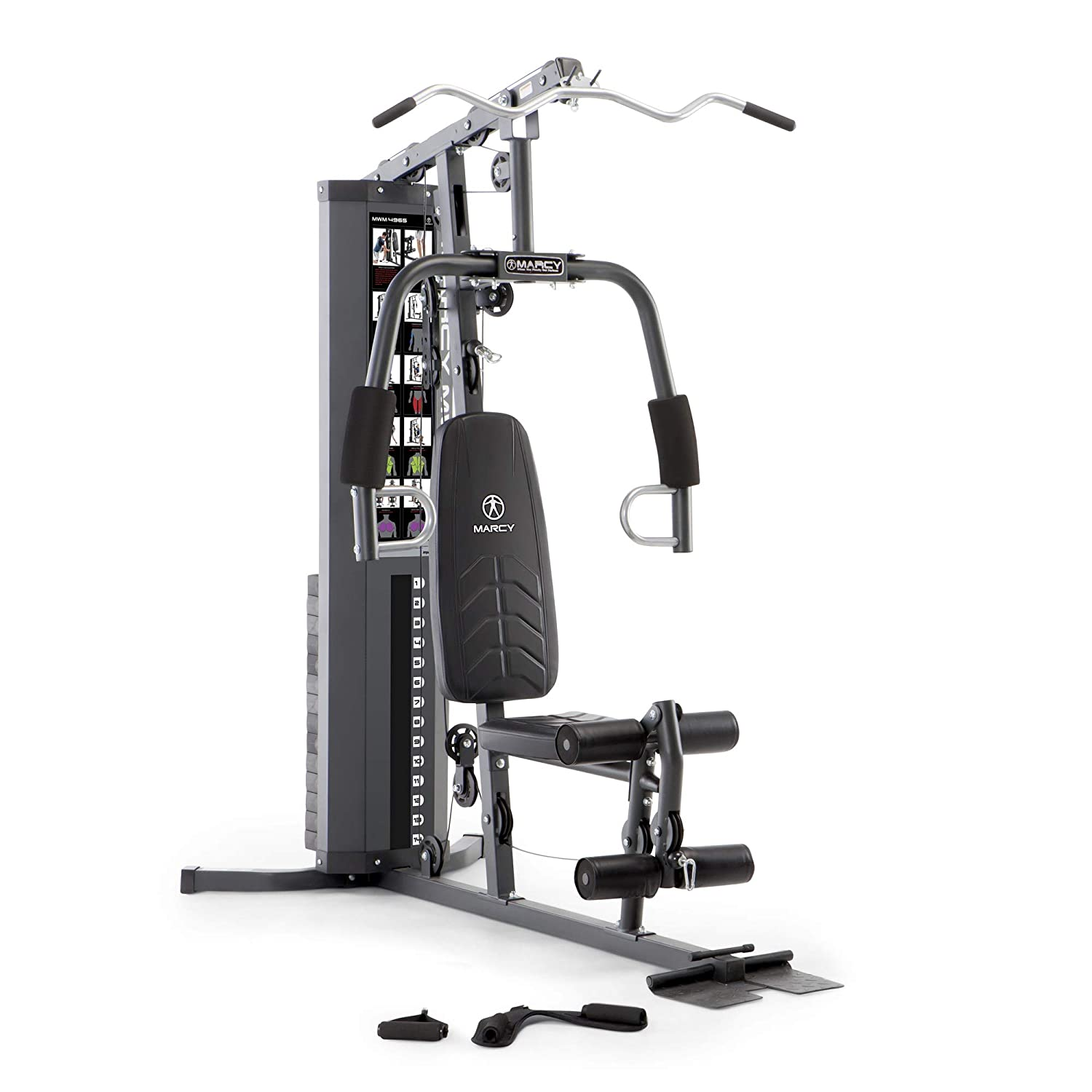 Marcy 150lb. Stack Home Gym with Pulley, Arm, and Leg Developer Multifunctional Workout Station for Weightlifting and Bodybuilding – 300 lbs Capacity MWM-4965