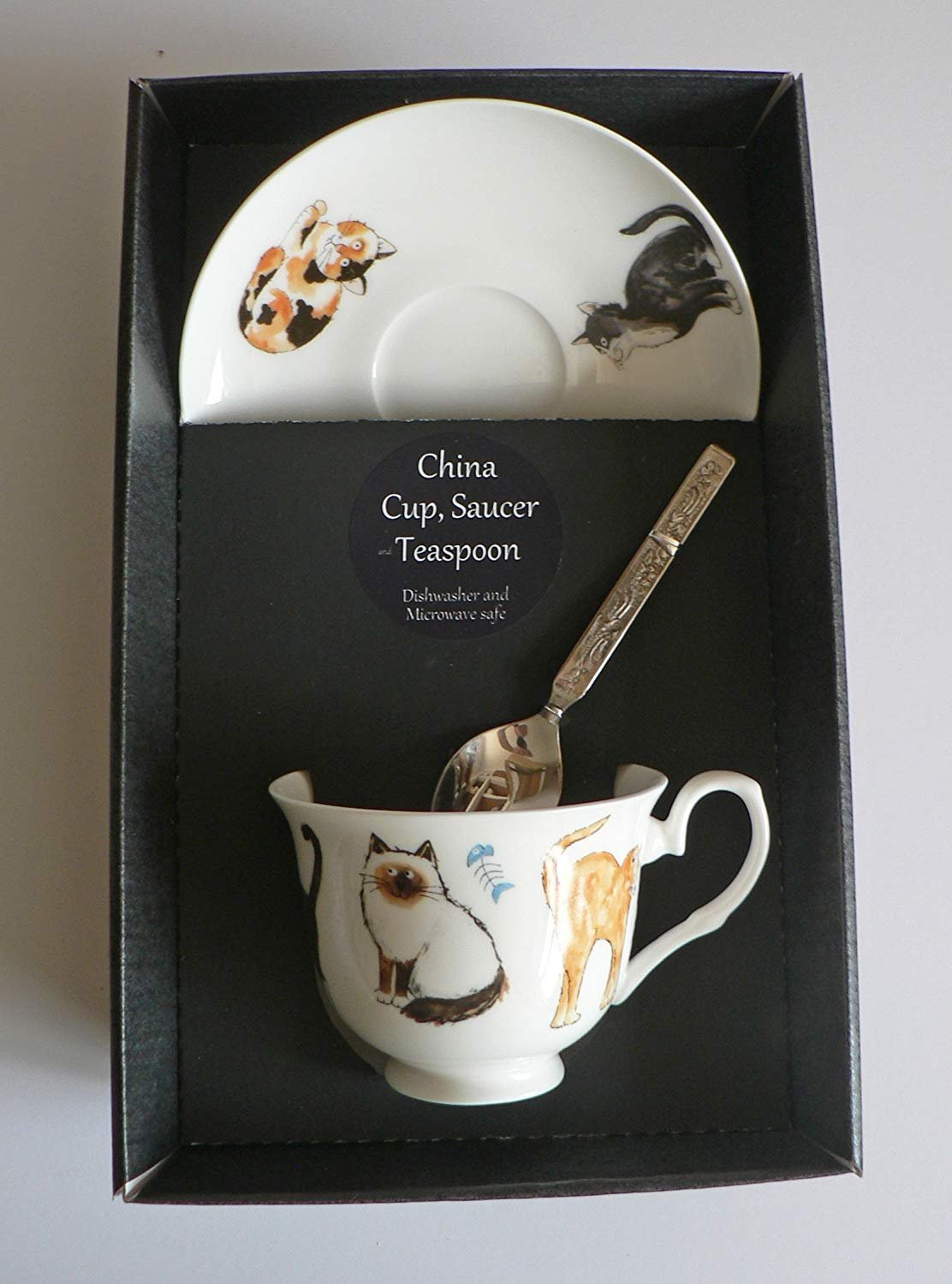 Cats cup and saucer set,boxed bone china gift boxed set wtih teaspoon crackinchina