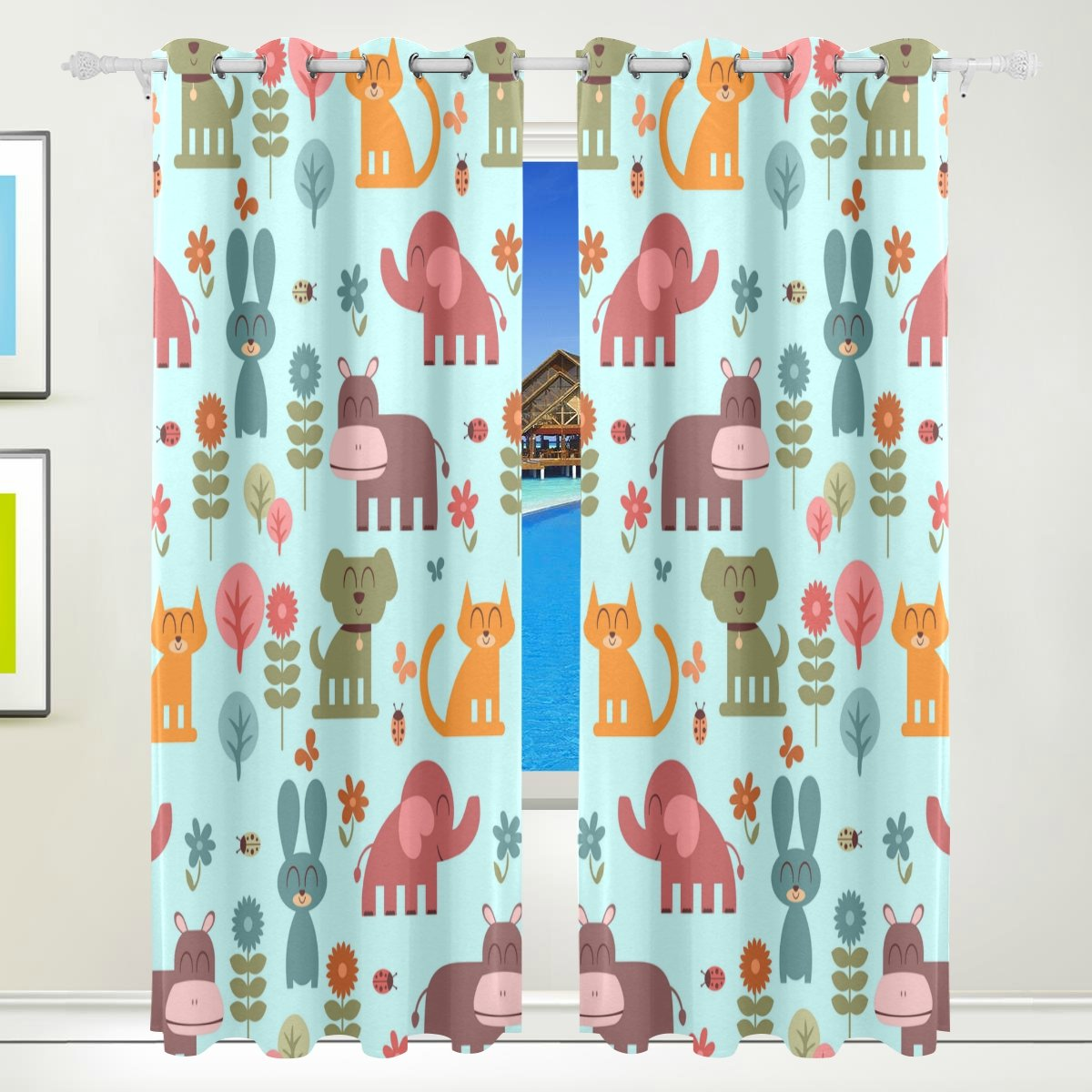 Vantaso Window Curtains 84 Inch Long Smile Cute Animals Dog Elephant Cat for Kids Girls Boys Bedroom Living Room Polyester 2 Pannels