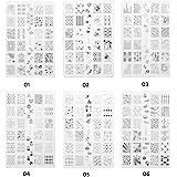 CICI&SISI Acrylic Nail Art Stamping Plates Set Jumbo 1- Set of 6 Pieces JUMBO Nail Polish Stamping Manicure Kit