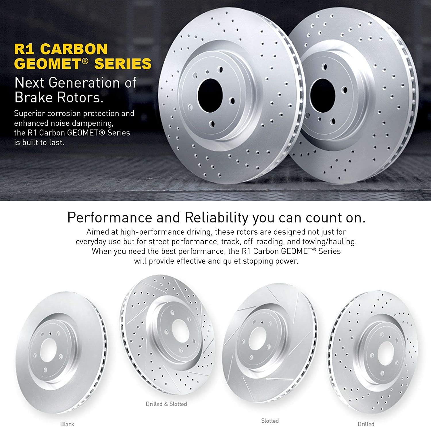 For 2015-2017 Kia Sedona Front R1 Carbon GEOMET Series Drilled+Ceramic Pads