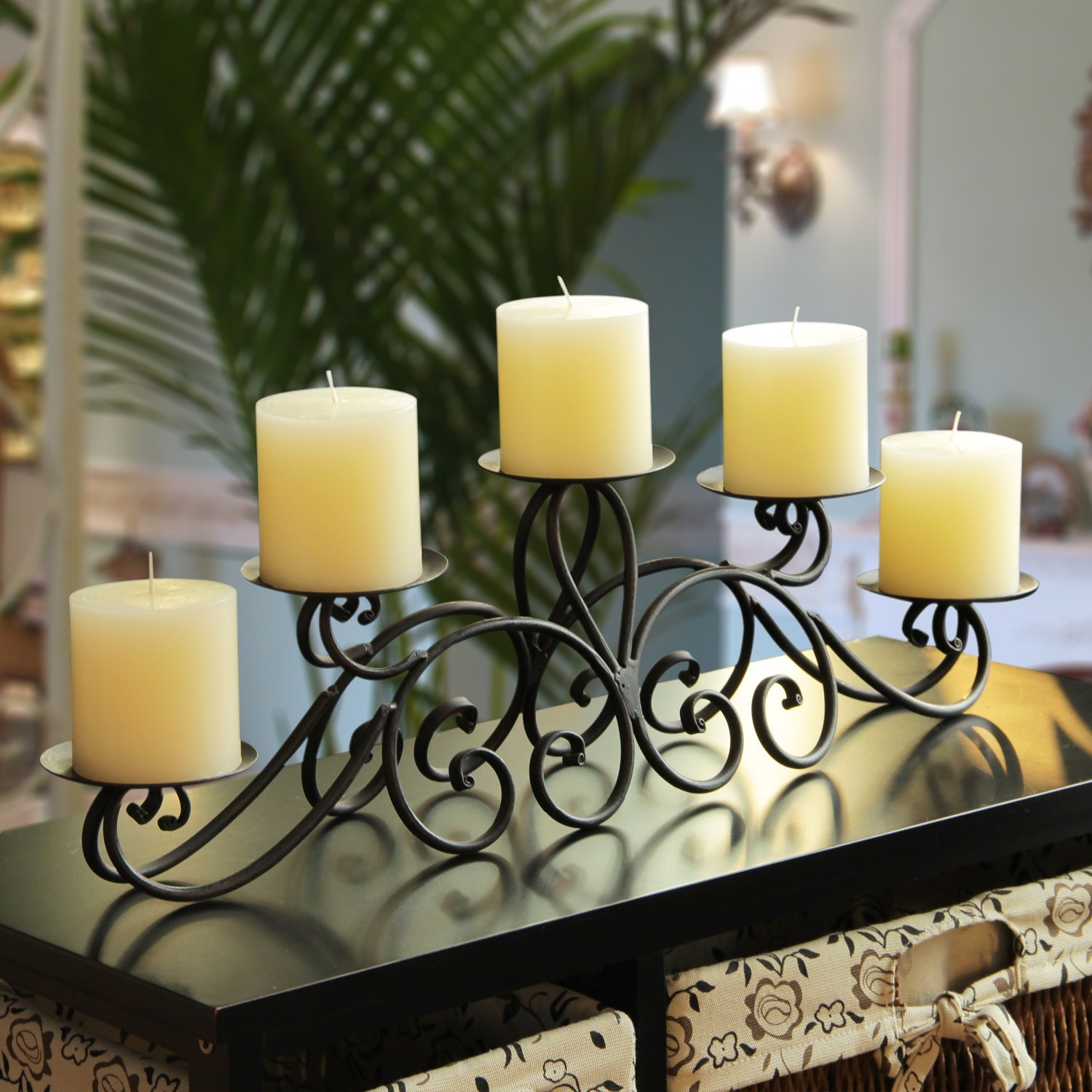 Beautiful Amazon.com: Adeco Iron Table Desk Top Pyramid Layout Scroll Design 5 Pillar Candle  Holder: Home U0026 Kitchen