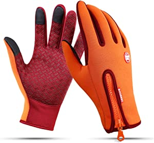 Ytuomzi Winter Gloves Touch Screen Warm Gloves Cold Weather Windproof Cycling Driving Riding Bike Telefingers Thermal Gloves Non-Slip Silicone Gel Adjustable Full Finger Mittens for Men and Women