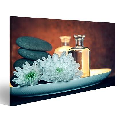 Cuadro Cuadros Cosméticos, la configuración del balneario con dos botellas de cosméticos naturales tales como