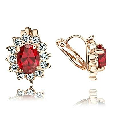 Yoursfs Kate estilo novia pendientes clips/Clip/Creole con 18 K Rose Oro dorados y cristales austriacos Días San Valentín Regalo para Mujer Mujeres ...