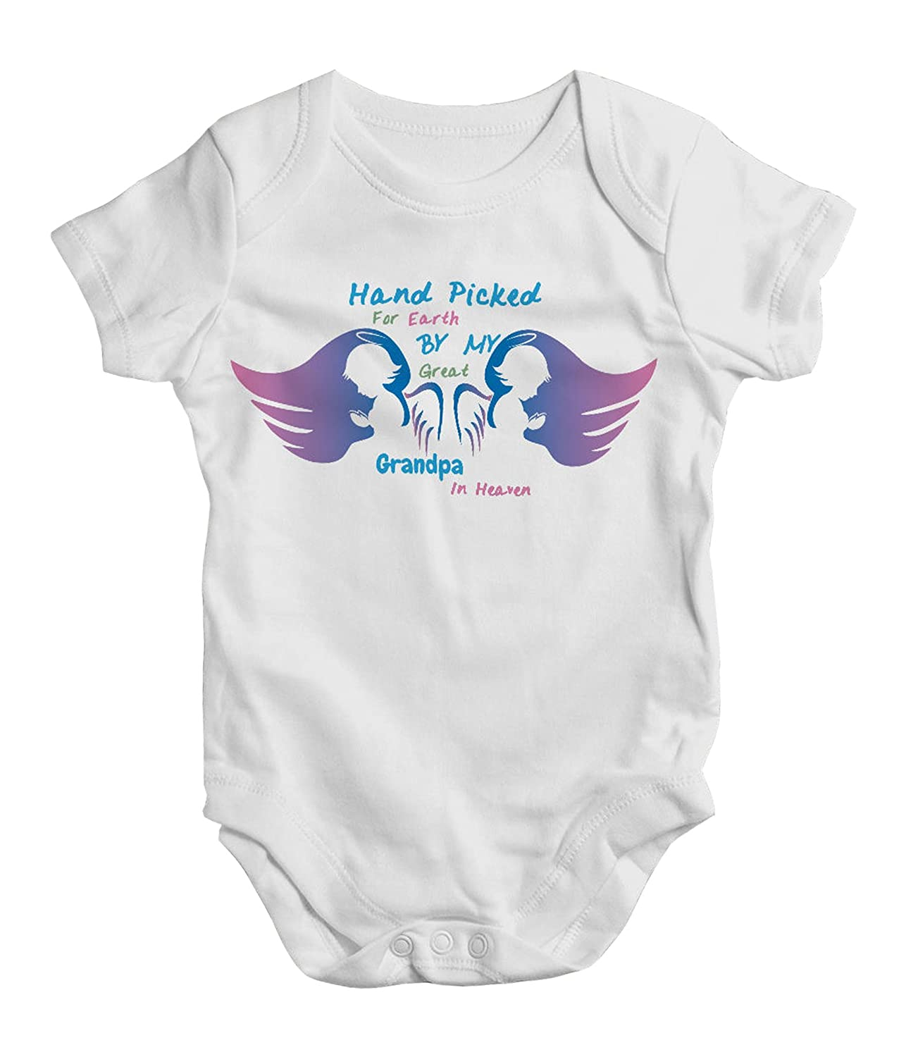 10f765e9a Amazon.com: Hand Picked for Earth by My Great Grandpa in Heaven, Funny Baby  Bodysuit, One Piece, New Born, Outfit, Baby Shower: Clothing