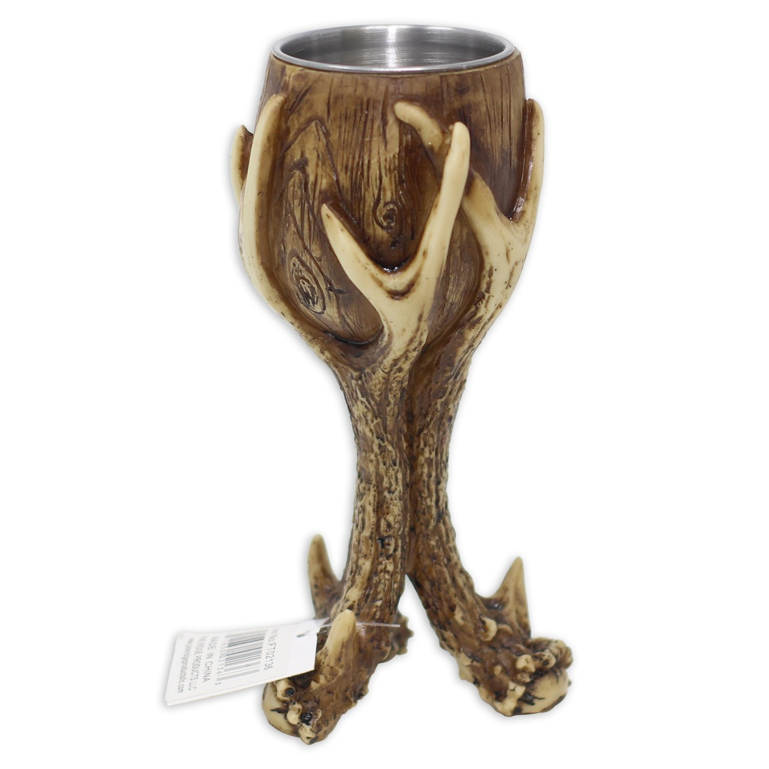 Pine Ridge Wild Deer Antler Stag Red Wine Goblet - Cool Single Pack Unique Drinking Stags Blood Rustic Wine Glass