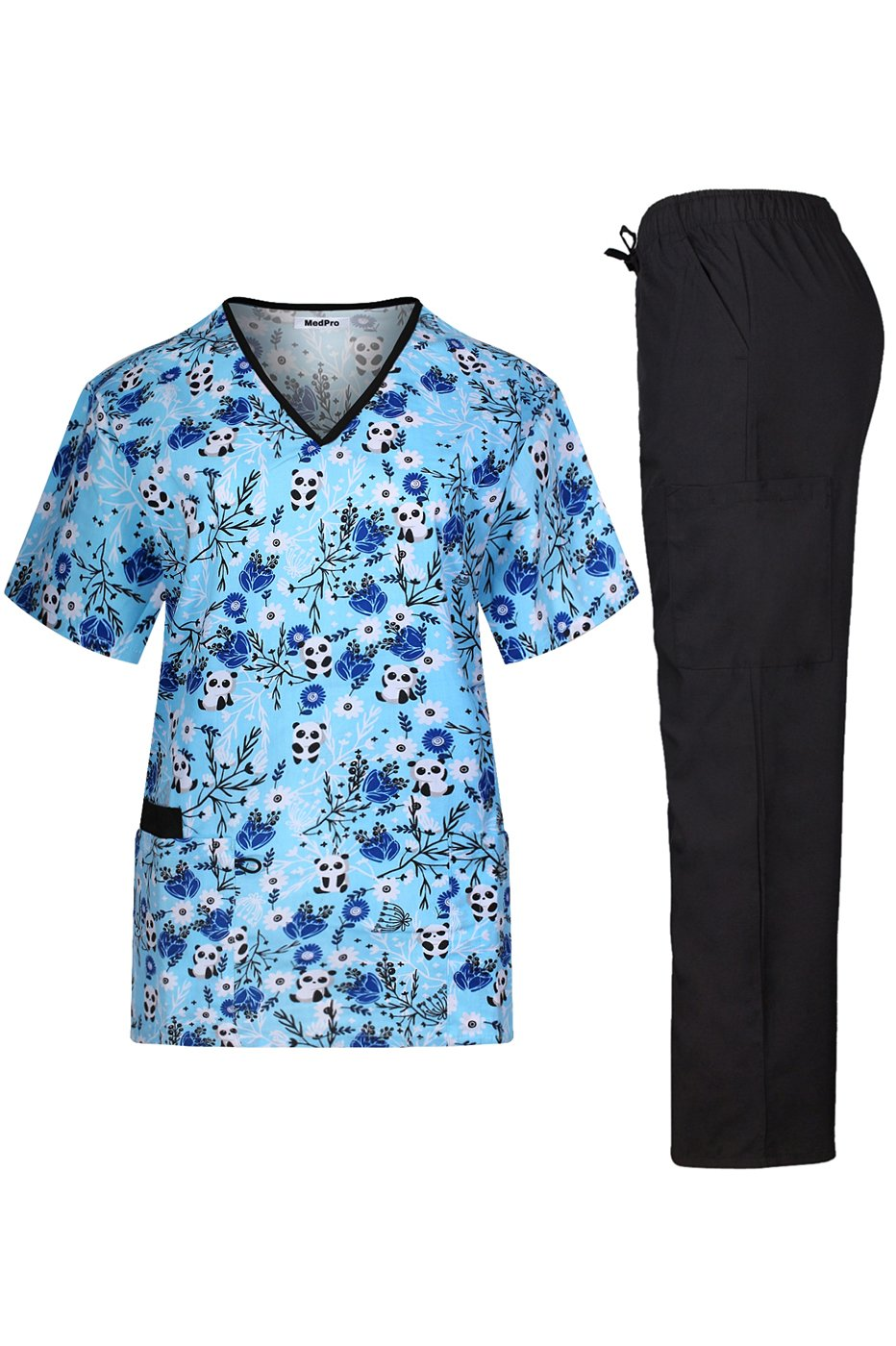 MedPro Women's Medical Scrub Set with Printed V Neck Top and Cargo Pants Blue Black S