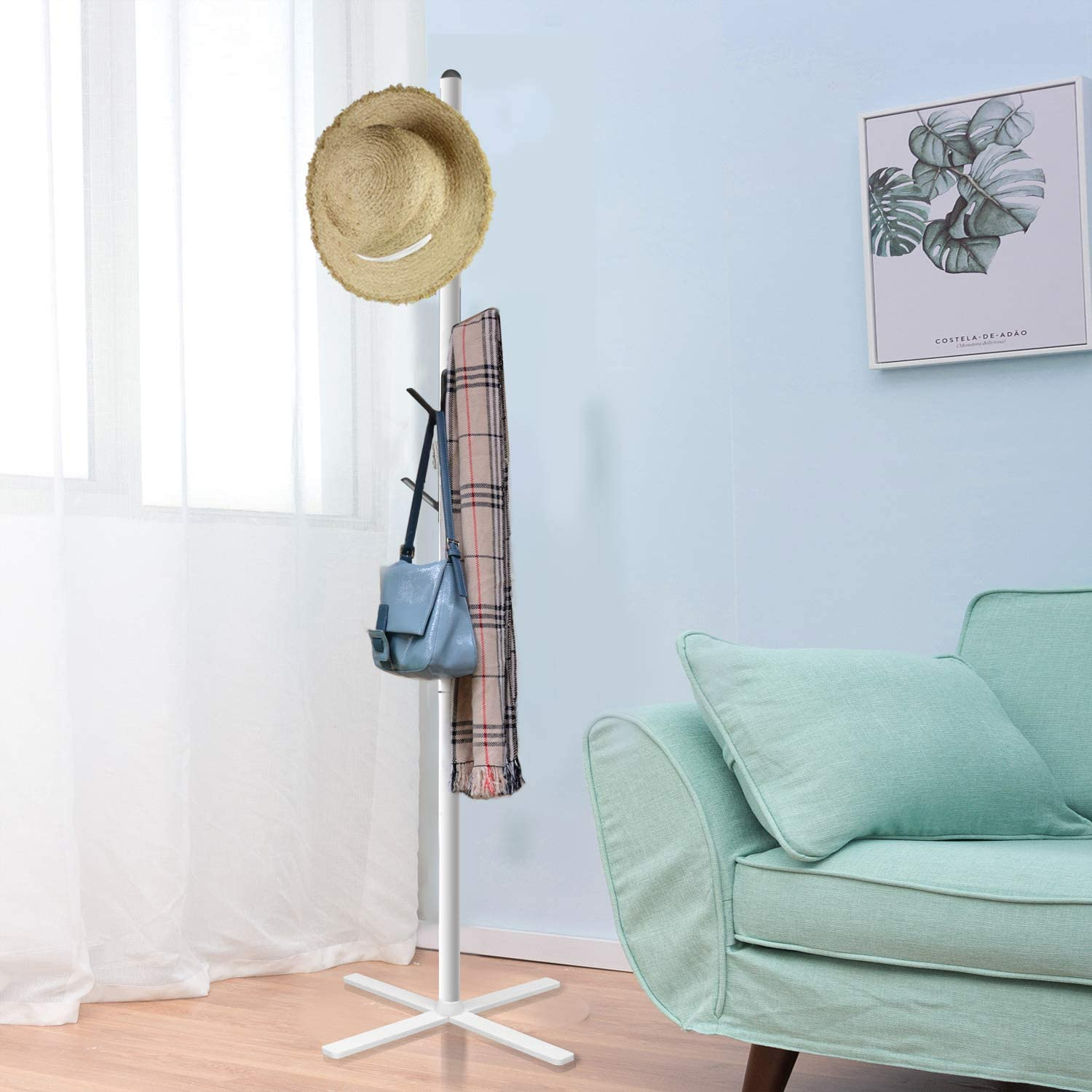 Umbrella Hats Nisorpa Coat Stand Rack Folding Clothes Hat Rack 6 Hooks 173 cm Hall Tree Hallway Standing Hat Hanger Storage Rack with Disassembled Base for Clothes White Handbags