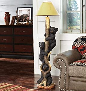 BLACK FOREST DECOR Three Bears in a Tree Floor Lamp with Shade- Rustic Living Room, Bedroom Decor