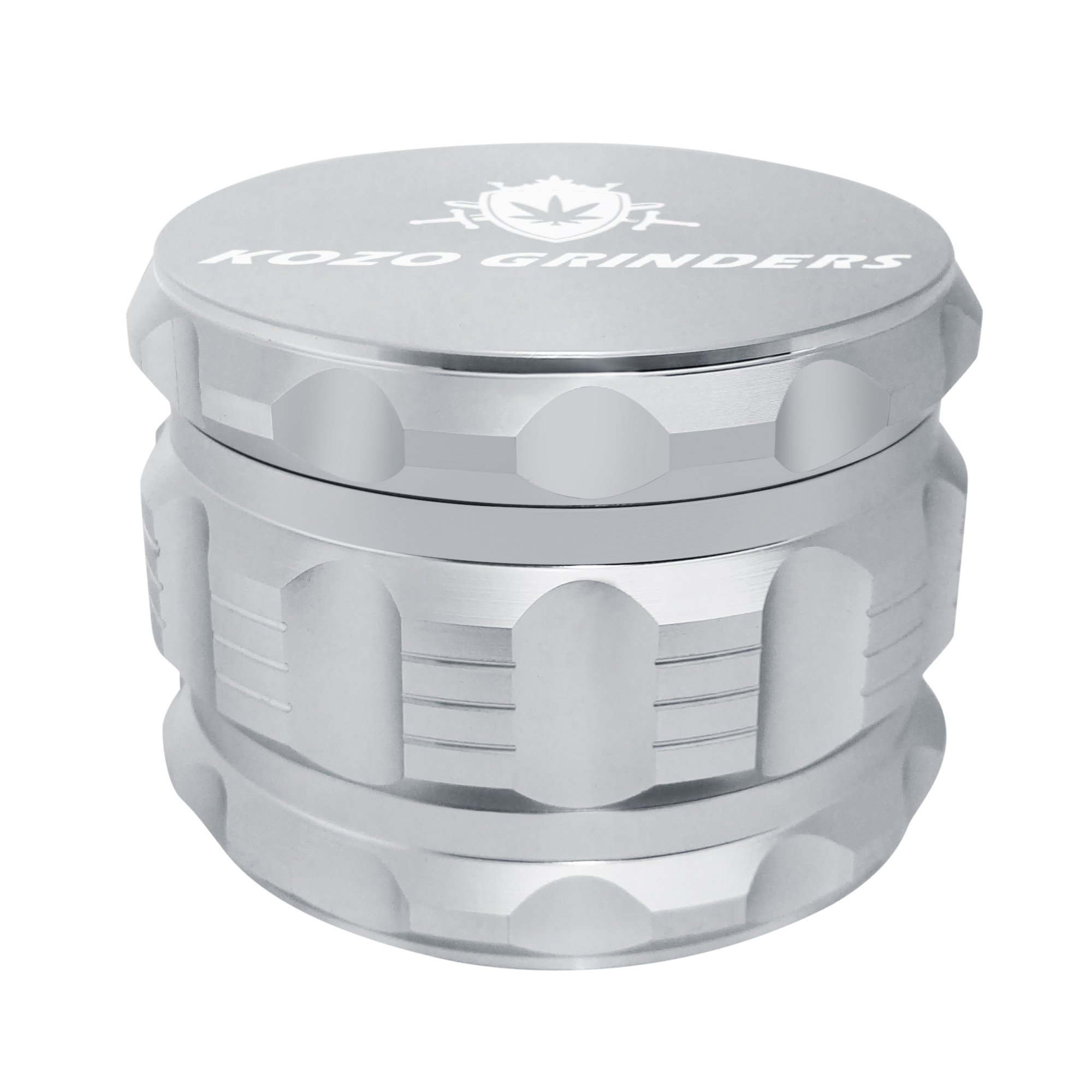[Upgraded Version] Best Herb Grinder By Kozo Grinders. Large 4 Piece, 2.5'' Silver Aluminium.