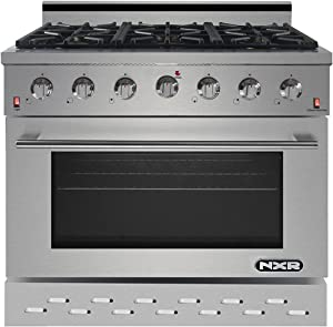 "NXR SC3611 36"" 5.5 cu.ft. Pro-Style Natural Gas Range with Convection Oven, Stainless Steel"
