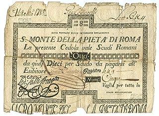 Cartamoneta.com 8 Scudi CEDOLA Sacro Monte della Pieta' Roma 07/01/1788 MB/BB