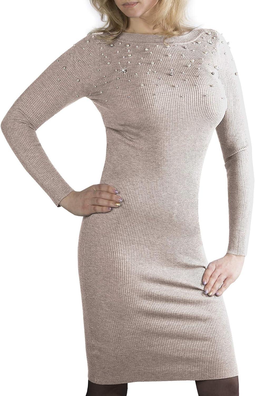 Trisens Glitzer Strick Damen Strickkleid mit Strass Kleid mit Perlen Pullover Maxikleid