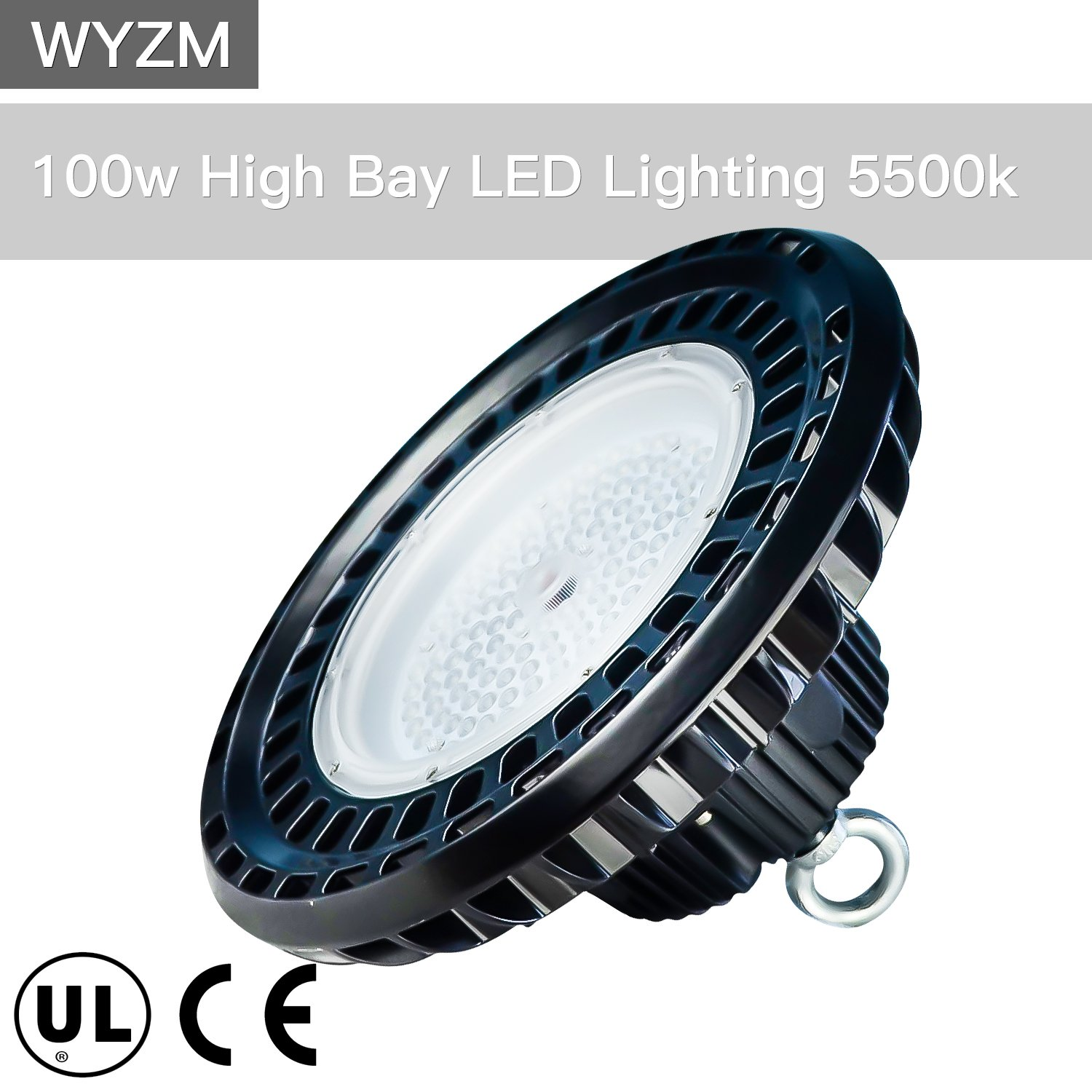 100W High Bay LED Lighting,Works From 110V to 277V,300W-350W HPS or MH Bulbs Equivalent,Great LED High Bay Lights for Garage Commercial Shopping Mall