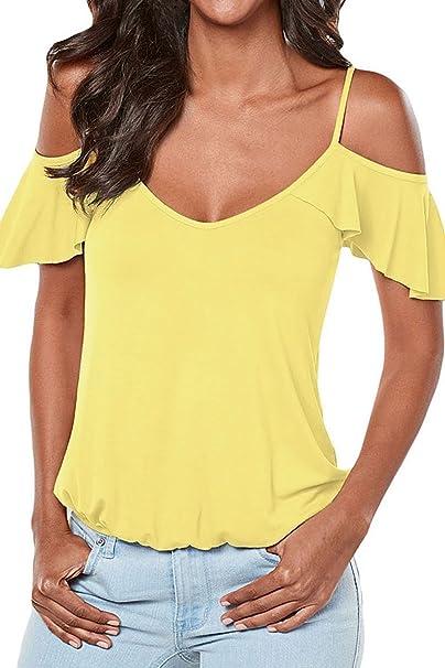 Las Mujeres abren la Camiseta de la Manga Corta del Hombro Frío Tops la Blusa Amarilla
