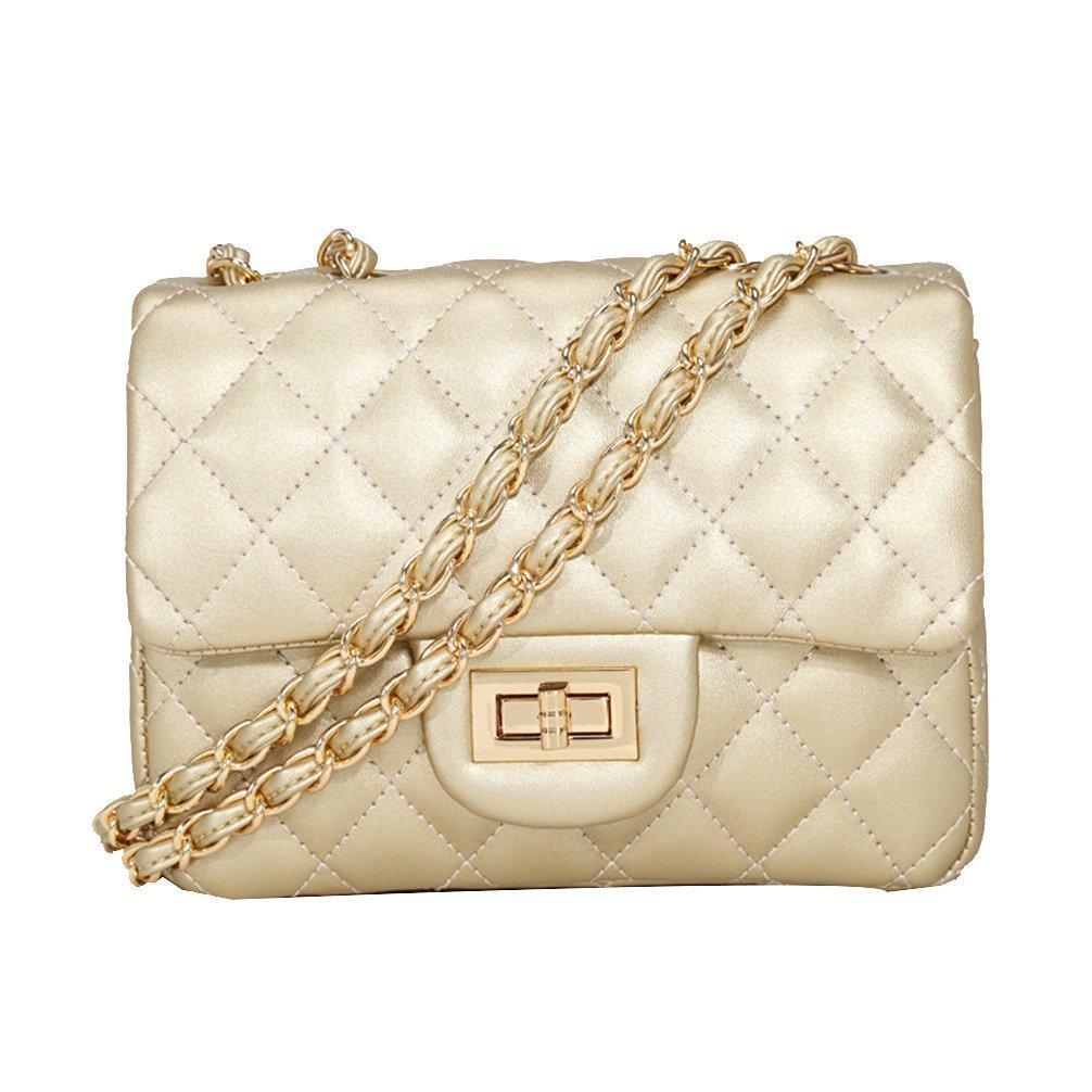 Kleine Gold Kette Gesteppte Umhängetasche Mini Kreuz Körper Frauen Handtasche Clutch Classic Abendtasche (20*15*7cm), by Toyu S Lady