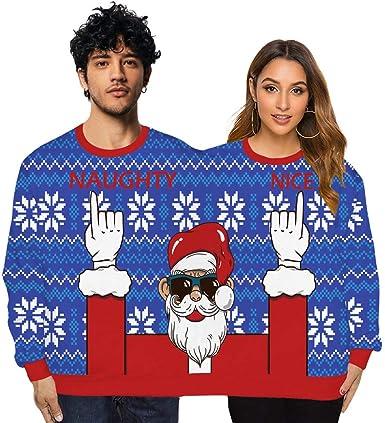 Suéter feo para dos personas Jersey de Navidad Suéter Novedad Blusa de Navidad Camisa superior Colores elegantes y brillantes Grosor estándar Costura de colores únicos Suave y cómodo Estilo suelto: Amazon.es: Ropa