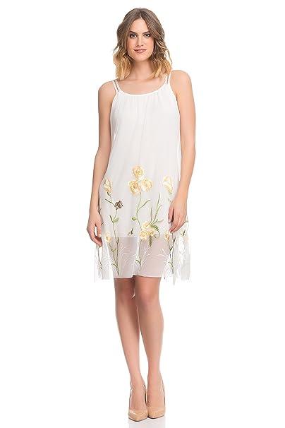 Laura Moretti - Vestido Bordado de Flores con Tiras de Encaje y Forro Interior