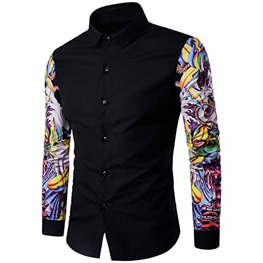 Mofgr 2017 New Arrival Men Pattern Long Sleeve Floral Flowers Print Slim Fit Dress Shirts at Amazon Mens Clothing store: